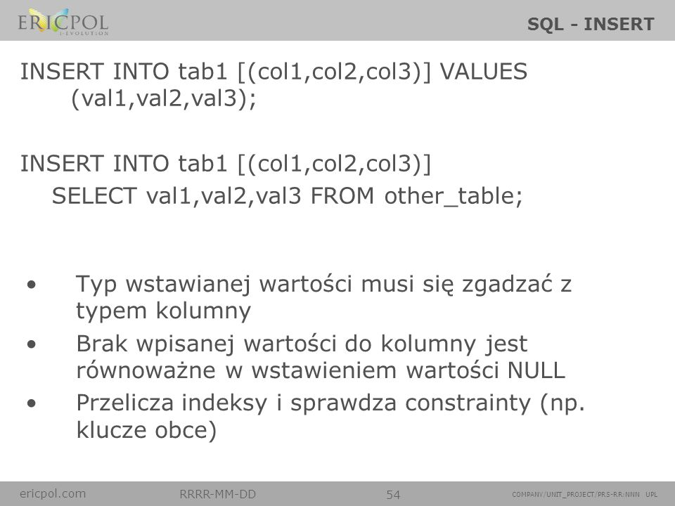 INSERT INTO tab1 [(col1,col2,col3)] VALUES (val1,val2,val3);
